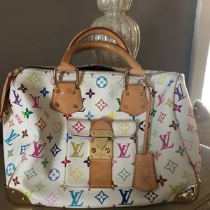 Louis Vuitton white multicolore speedy 30 bag ❤️❤️